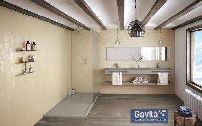 Ambiente Beton, plato de ducha y lavabo a juego