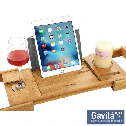 Portavelas, sujeción de copa y reposo para iPad