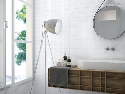 Azulejo blanco liso 7,5x15 en baño