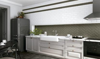 Azulejo blanco biselado 7,5x15 en cocina