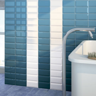 Azulejo blanco biselado 7,5x15 en baño
